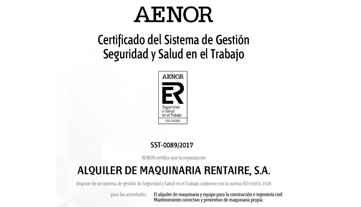 Rentaire renueva su certificado ISO 45001