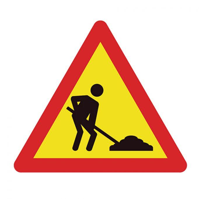 Señal tráfico triángulo 700mm peligro obras
