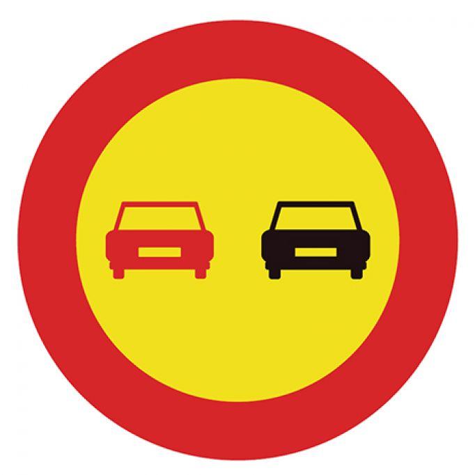 Señal tráfico homologada prohibido adelantar