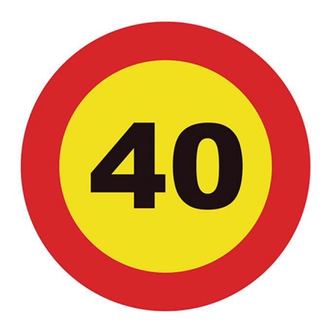 Señal tráfico disco 500mm velocidad máxima 40 km/h